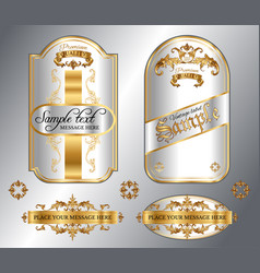 Gold framed labels vector image