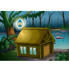 A bamboo house in the jungle vector image vector image