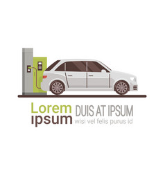 electrical car at charging station eco friendly vector image