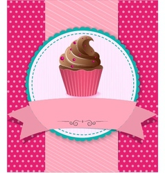 retro cupcake on striped background vector image vector image