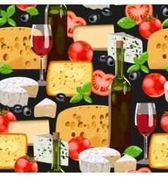 Wine and cheese seamless vector image vector image