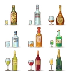 Alcohol Bottles Decorative Icons Set vector image vector image
