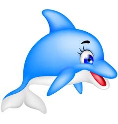 funny dolphin cartoon vector image vector image