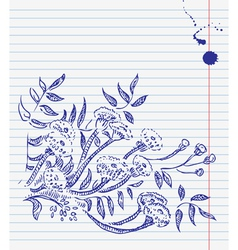 hand-drawn doodle floral background vector image vector image
