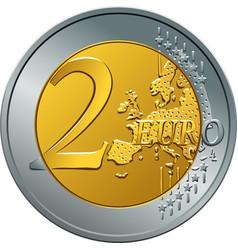 money gold coin two euro vector image vector image