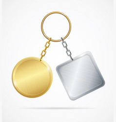 realistic 3d detailed metal keychains set vector image