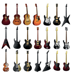 set of isolated guitars vector image