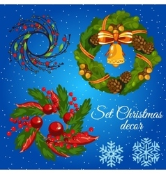 Three different Christmas wreath and snowflakes vector image vector image