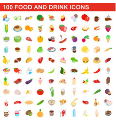 100 food and drink icons set isometric 3d style vector image