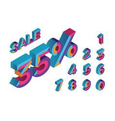35 sale 0 1 2 3 4 5 6 7 8 9 isometric vector
