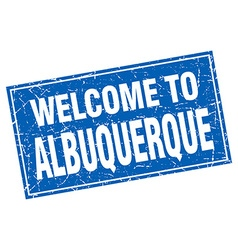 Albuquerque blue square grunge welcome to stamp vector