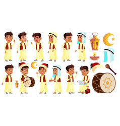 Arab muslim boy schoolboy kid poses set vector