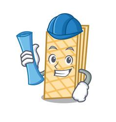 Architect waffle character cartoon style vector