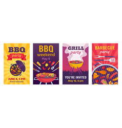 barbecue posters bbq party invitations for summer vector image