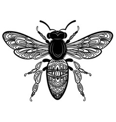 bee with patterns black white with ornaments vector image