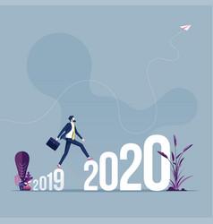 businessman walk across between 2019 to 2020 vector image