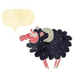 Cartoon black sheep with speech bubble vector