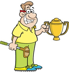 Cartoon man holding a trophy vector image