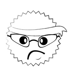 Character angry with bandana kawaii style vector