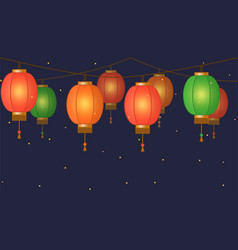 chinese lantern garland colorful asian vector image