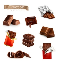 Chocolate bars and pieces set vector