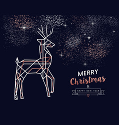 christmas and new year copper outline deer card vector image