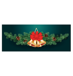 christmas decoration with two golden bells and vector image