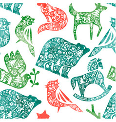 christmas watercolor folk animal seamless pattern vector image