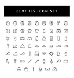 clothes icon set with black color outline style vector image