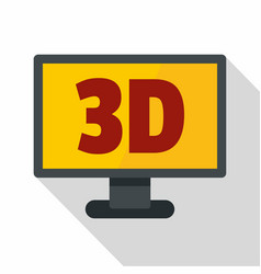 Computer monitor with 3d inscription icon vector