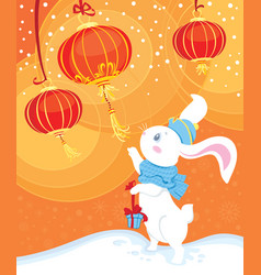 curiosity white rabbit and chinese lanterns vector image