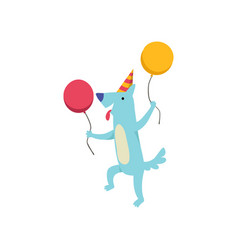 cute dog in party hat with colorful balloons vector image
