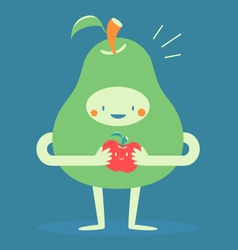 Cute Pear Hugging a Small Apple vector image
