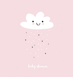Cute simple baby shower pink card vector