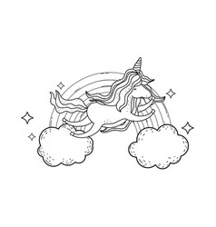 cute unicorn with clouds and rainbow vector image