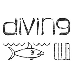 design logo diving club vector image