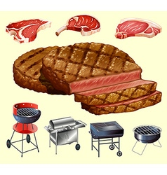 Different kind of meat and grill equipment vector image