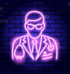 doctor with stethoscope neon signboard vector image