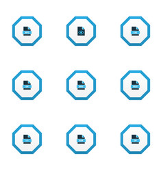 Document icons colored set with file zip hidden vector