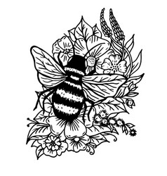 Doodle bumblebee in flowers and leaves vector