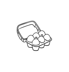 Eggs in carton pack hand drawn sketch icon vector