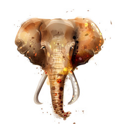 Elephant watercolor wildlife annimal front vector
