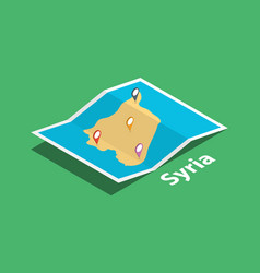 Explore syria maps with isometric style and pin vector