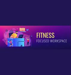 Fitness-focused workspace concept banner header vector