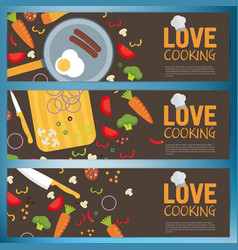 flat kitchen table for cooking in house banners vector image vector image