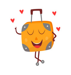 Flat travel bag suitcase character in love vector