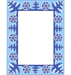 frame with trees and snowflakes vector image