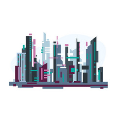 Futuristic city with skyscrapers vector