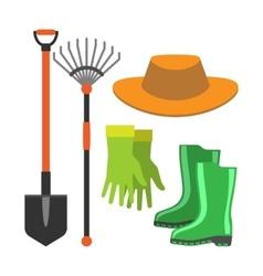 Gardening shovel and rake groundworks tools vector