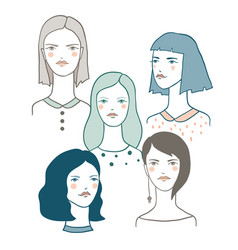 girl characters avatars vector image